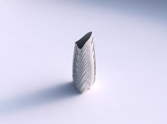 Vase Tipped Triangle With Horizontal Wavy Layers 3d Model 3d