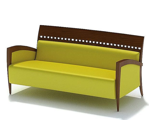yellow sofa with a wooden frame 3d model 1 - Wooden Frame Sofa