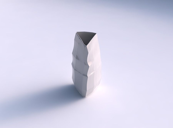 Vase curved tipping triangle with curved creases