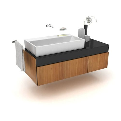 Large basin modern bathroom sink 3d model for Bathroom design 3d model
