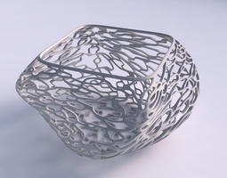 3D printable model Bowl helix with entangled lattice