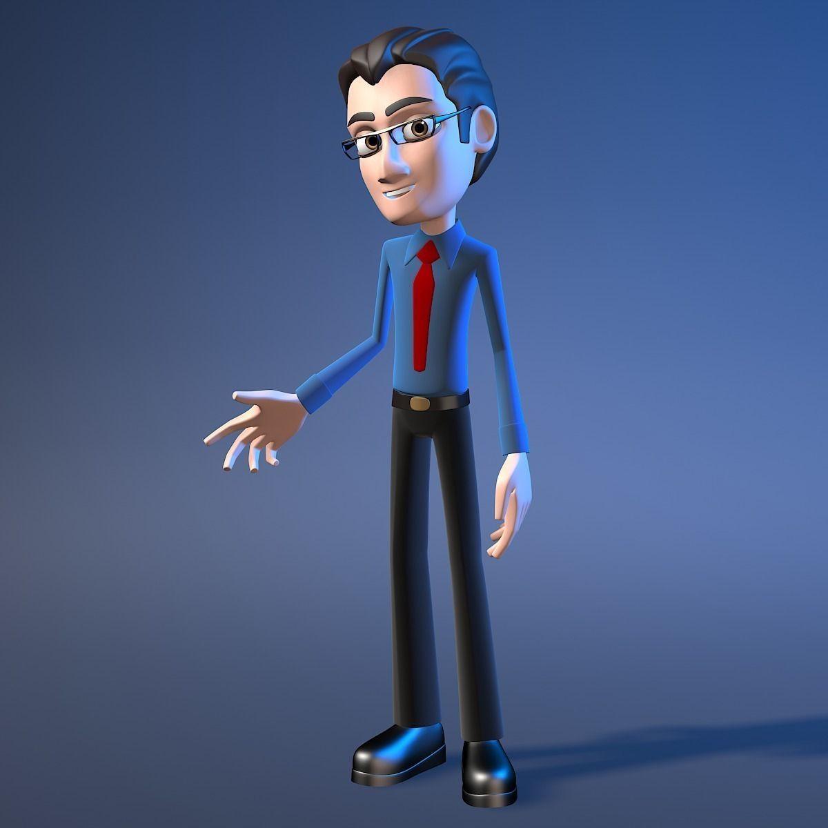 Cartoon Office Character Man 3d Model Rigged Max Obj Fbx