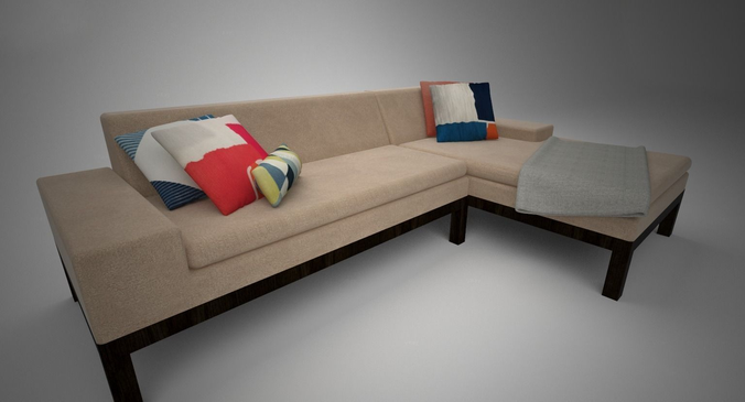 west elm lorimer sofa with chaise 3d model max 1