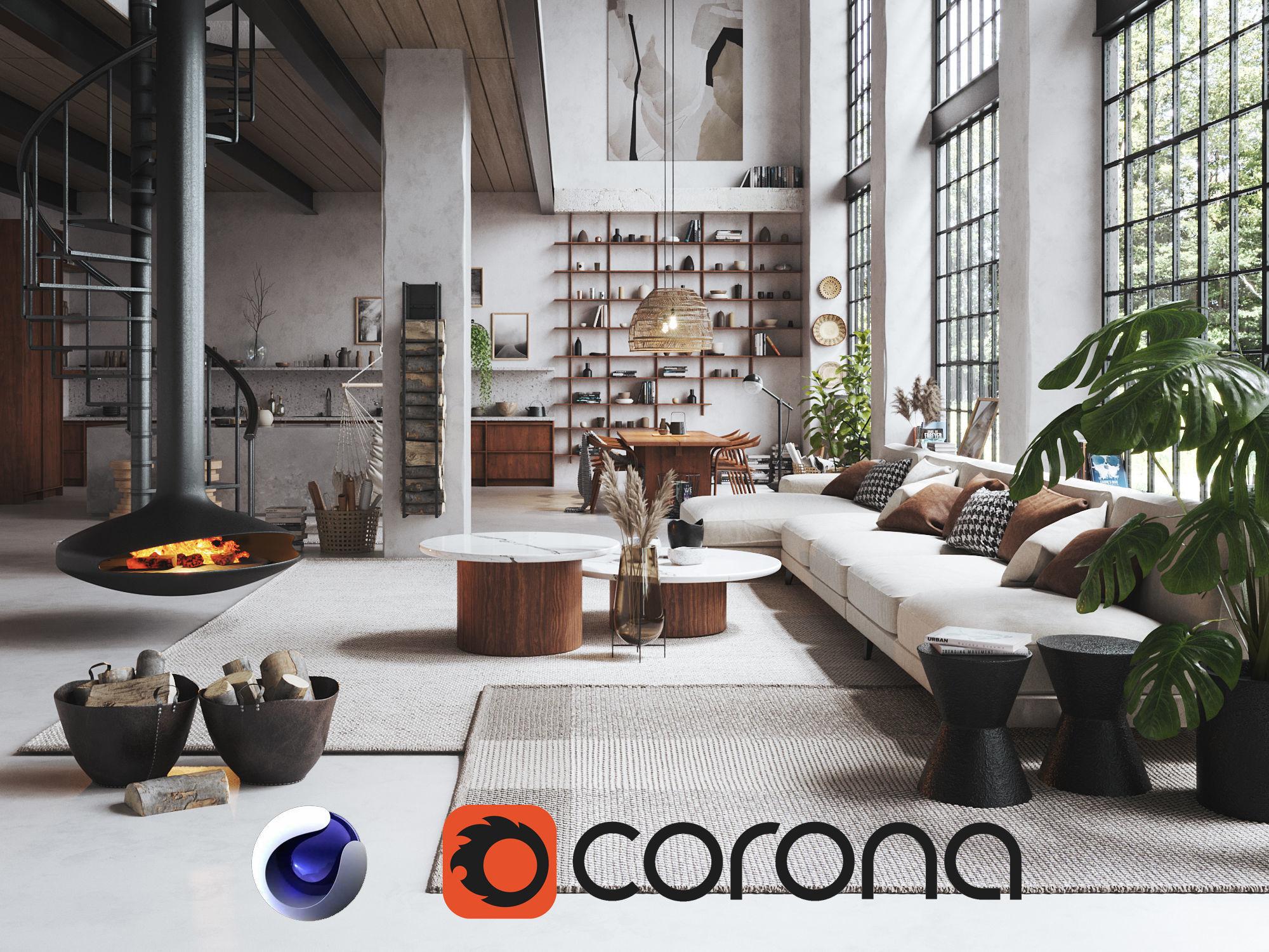 Boho Design Interior Scene for Cinema 4D and Corona Renderer