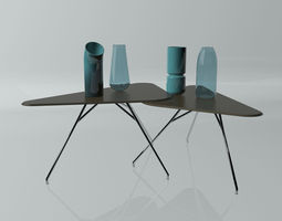 3D Coffee table and vases