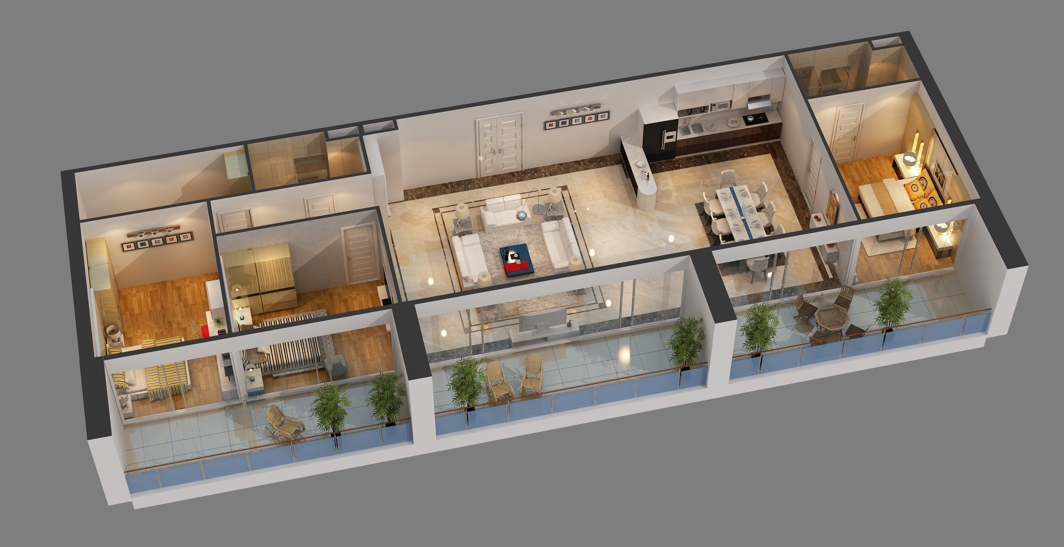 ... Cutaway Apartment Full Furnitures In Modern Design 3d Model Max 2 ...