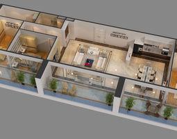 cutaway apartment full furnitures in modern design 3d