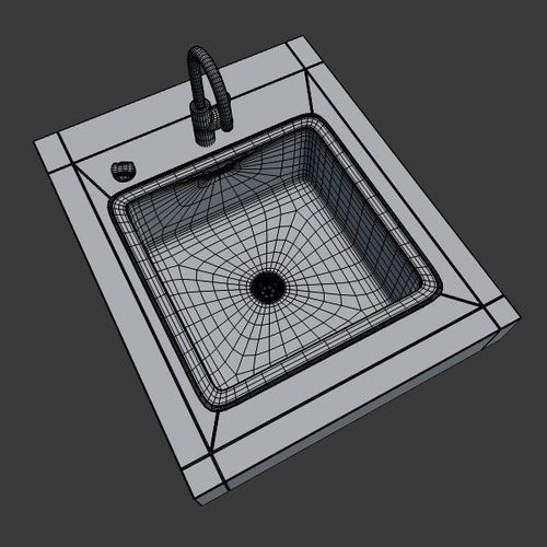 ... Kitchen Sink 3d Model Obj 3ds Fbx Blend Dae X3d 5