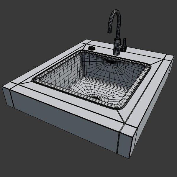 ... Kitchen Sink 3d Model Obj 3ds Fbx Blend Dae X3d 4 ...