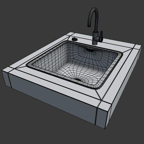 Kitchen Sink Model: Kitchen Sink 3D Model OBJ 3DS FBX BLEND DAE X3D