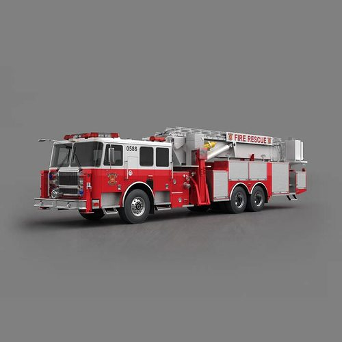 fire truck   red 3d model obj mtl 1