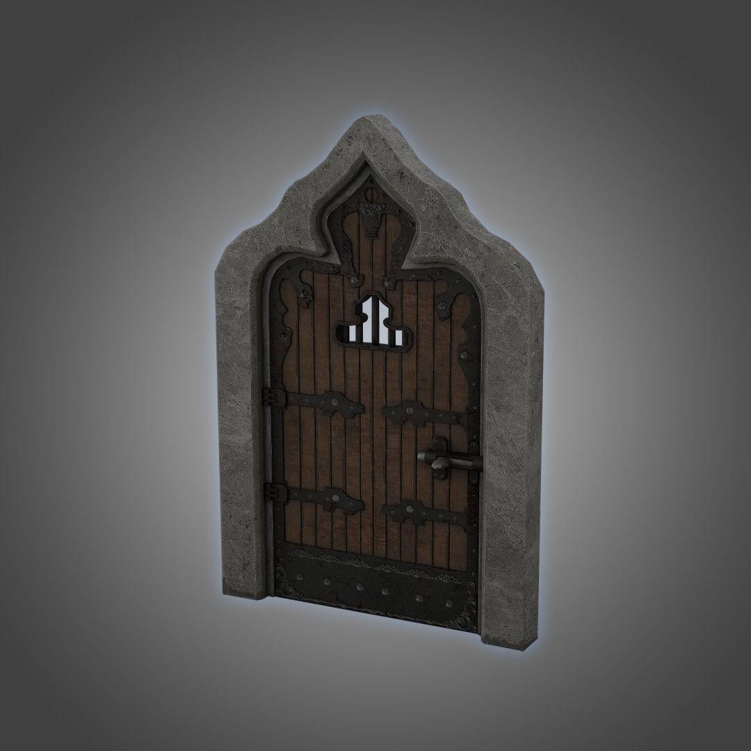 Medieval Door  Cell Door Arched Gothic Design 3D Model