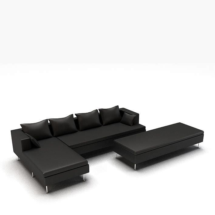 Modern Black L Shaped Leather Couch | 3D model