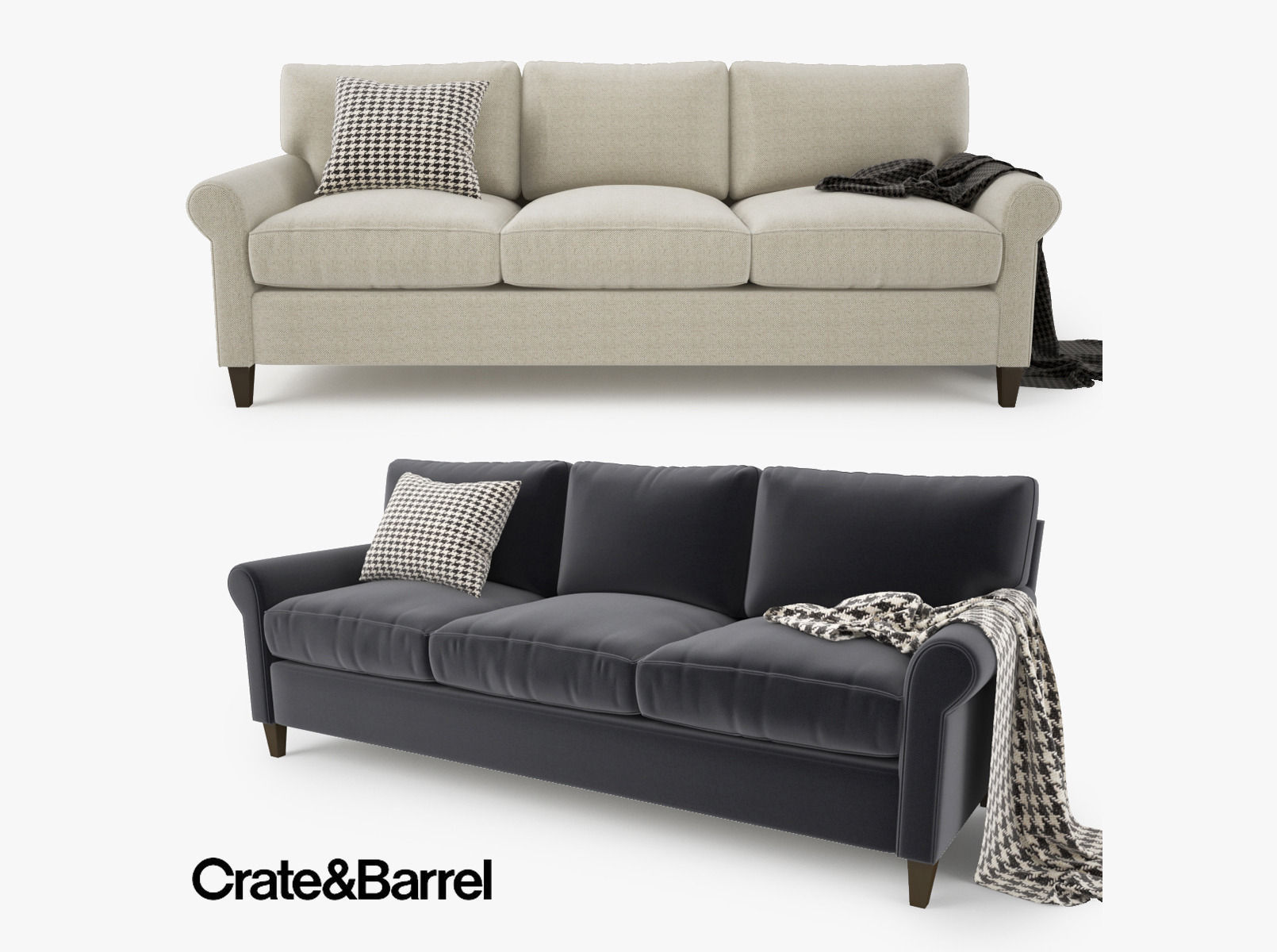 crate and barrel montclair 3 seat sofa 3d model max obj fbx mtl