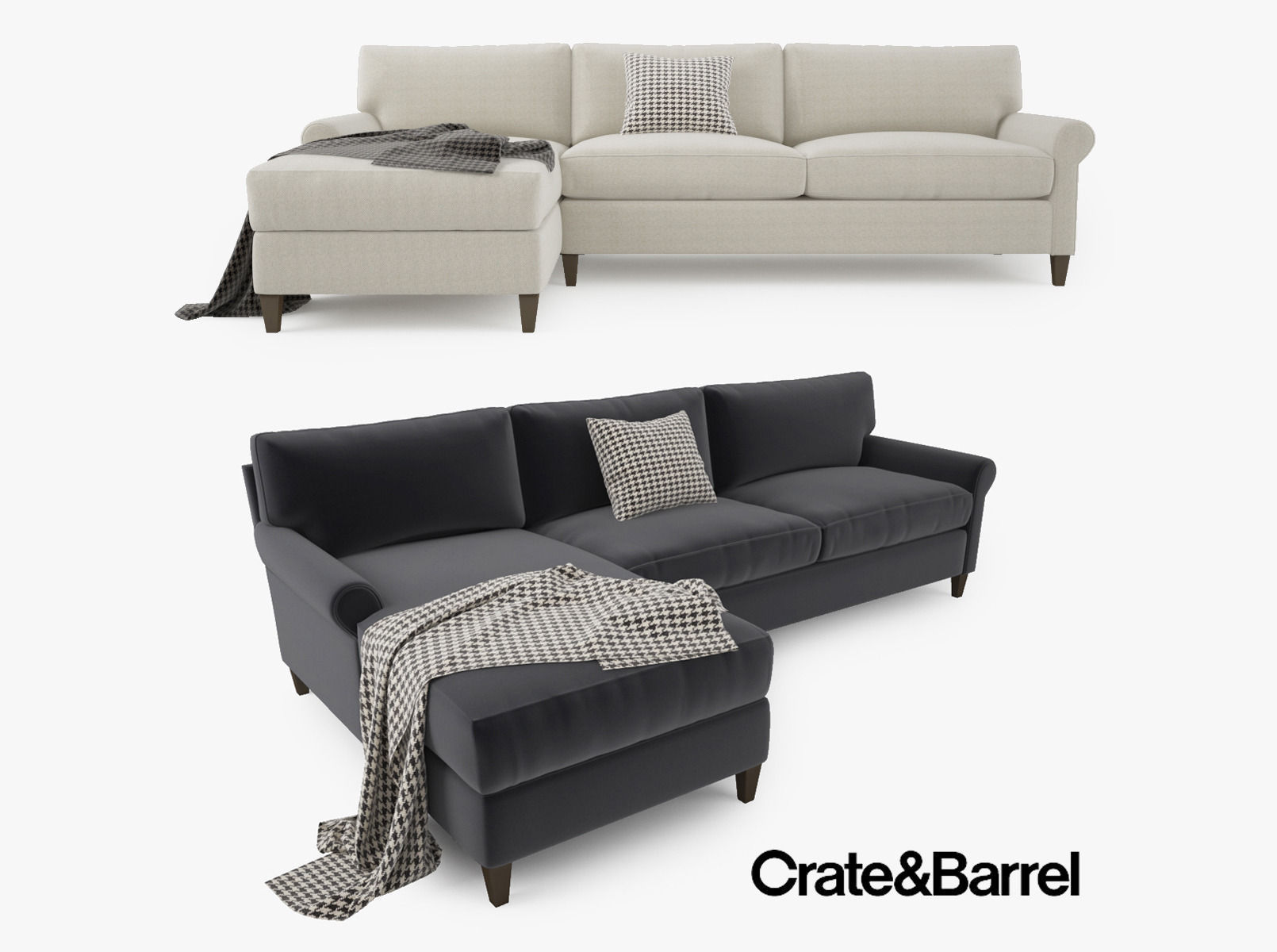 Crate and barrel montclair 2 piece sectional sofa 3d model
