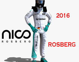 nico rosberg 2016 rigged low-poly 3d asset