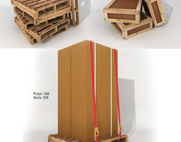 3D asset Pallets boxes crates and warehouse items for game