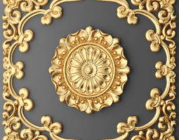 Ceiling rosette and frame 3D