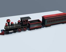 low-poly 3d asset low poly steam engine train
