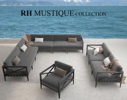 restoration hardware mustique sofa collection 3d model