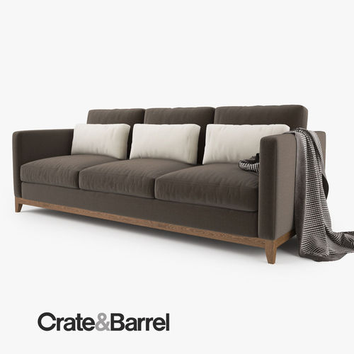 crate and barrel taraval 3 seat sofa 3d model max obj fbx mtl