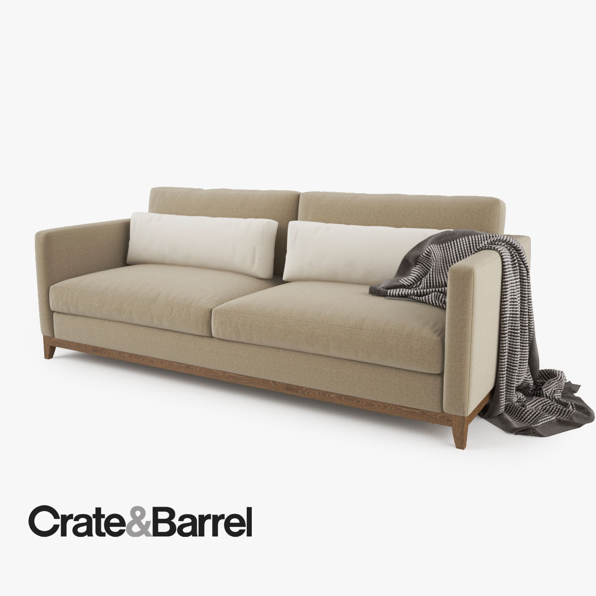 crate and barrel taraval 2 seat sofa 3d model max obj fbx. Black Bedroom Furniture Sets. Home Design Ideas