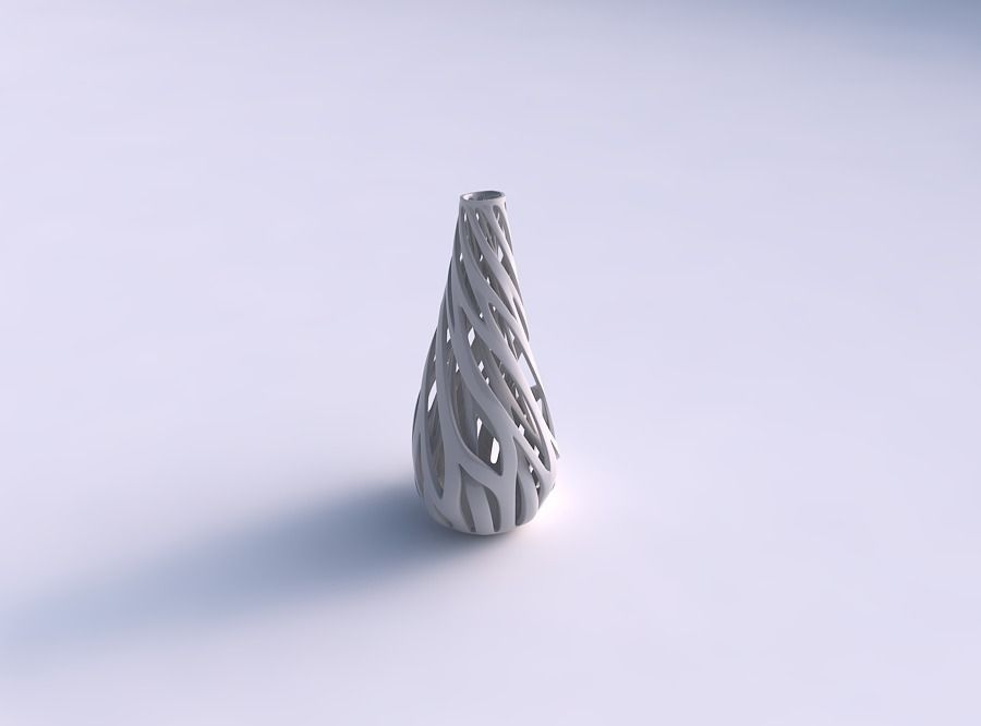 Vase taper drop shape with inner and outer lines twisted and ...