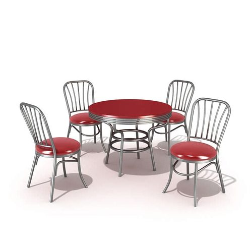 Retro Style Table Set With Chairs 3d Model 1