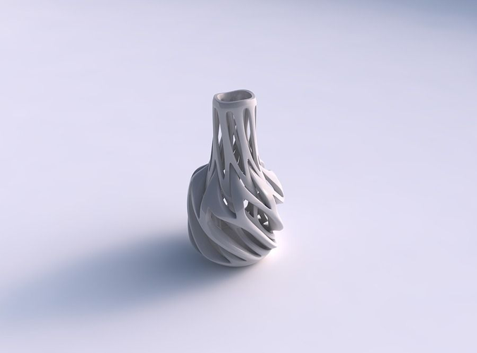 vase slim wider middle with intertwining lines twisted and ta... 3d model max 1