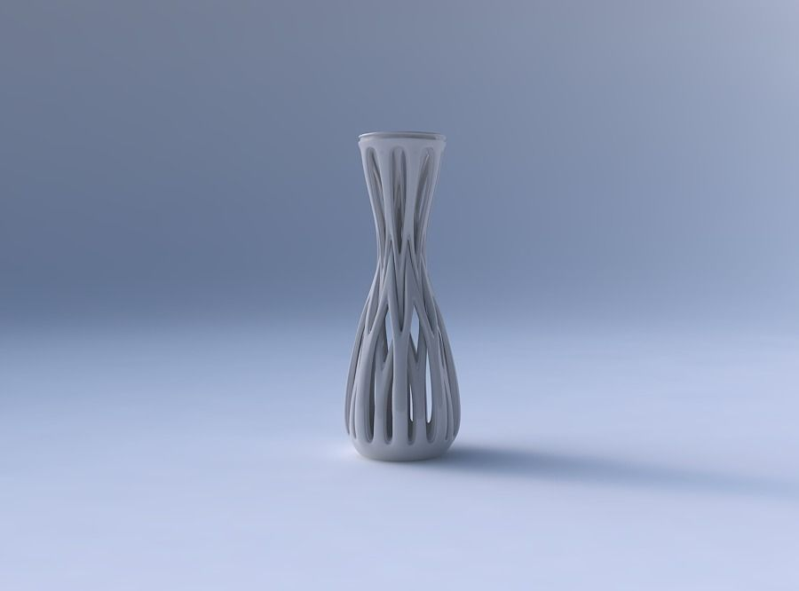 Vase Curved Hourglass Slim With Beveled Intertwining Lines Ta 3d