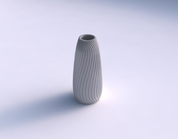 Vase Bullet with wavy extruded lines 4 3D Model