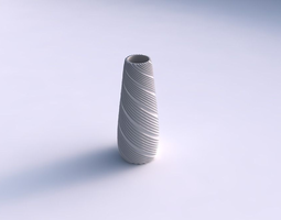 Vase Bullet with twisted extruded lines 3D Model