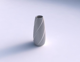 Vase Bullet with flowing extruded lines 3D Model