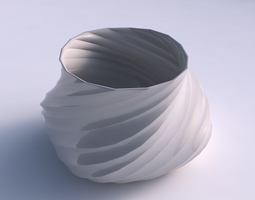 3D print model Bowl twisted elipse with twisted bands