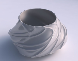 3d print model bowl twisted elipse wavy sparse extruded lines