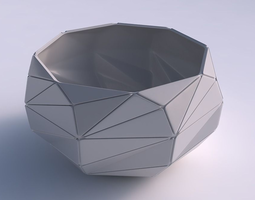 3d print model bowl spheric twisted with triangle plates