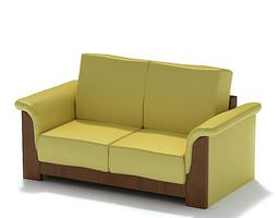 Retro Wooden Yellow Couch 3D model