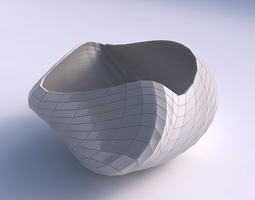 Bowl helix with wavy grid plates 3D printable model