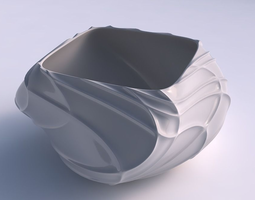 Bowl helix wavy sparse extruded lines 3D printable model