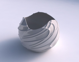 3d printable model bowl spheric wavy sparse extruded lines