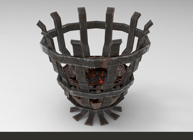 metallic ancient brazier light 3d model low-poly obj mtl fbx tga 1