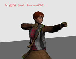 3d asset fantasy archer girl rigged and animated low-poly game ready realtime