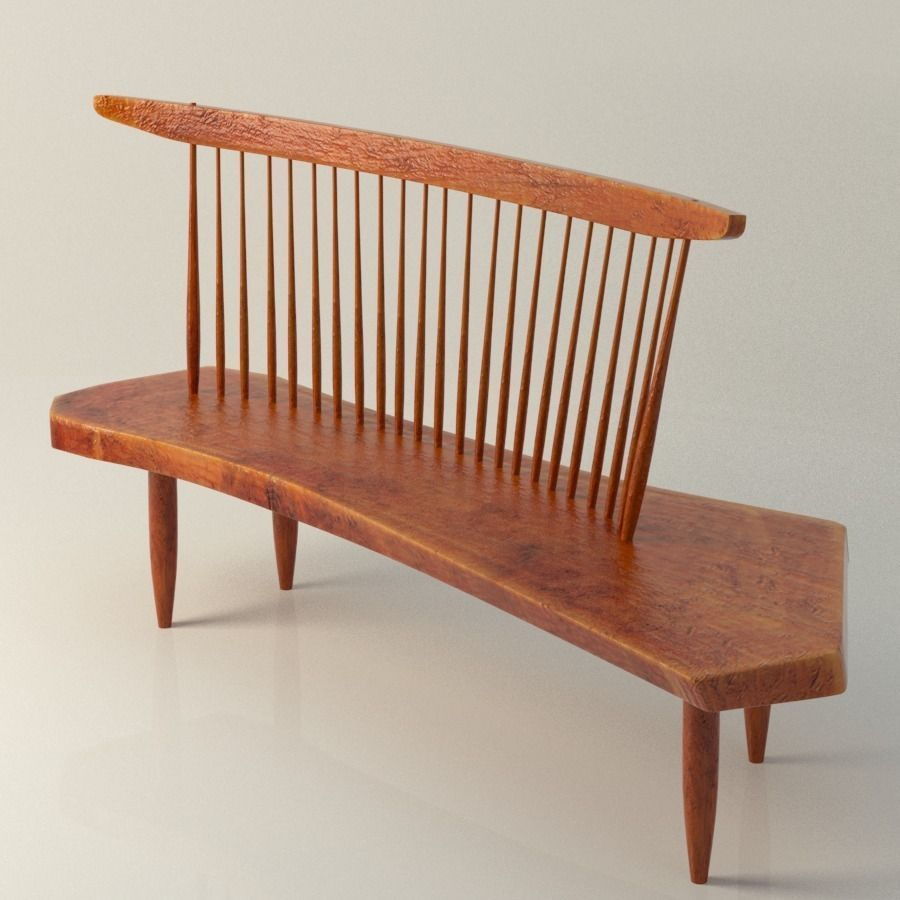 3D Nakashima Bench Chair | CGTrader