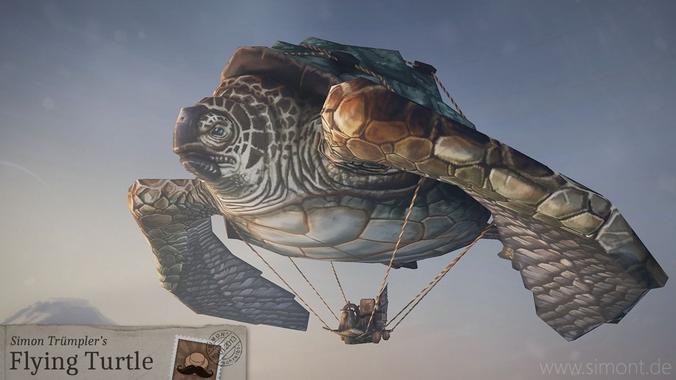 flying turtle 3d model low-poly obj mtl fbx tga 1