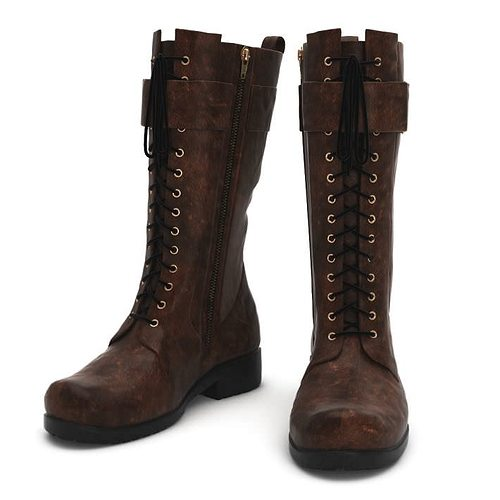 leather laced boots 3d model obj mtl 1