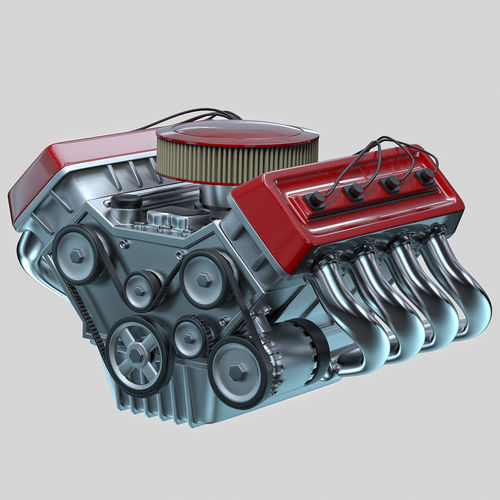 Model Car With Engine: 3D Model Car Engine Animated