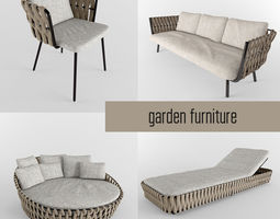 garden furniture collection 3D model