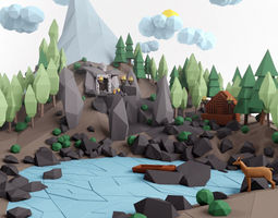 3d asset low poly lanscape mountain hill tree lake and other items low-poly