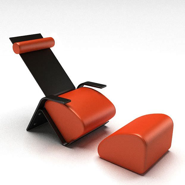 Chair With Separate Foot Rest 3d Model 1