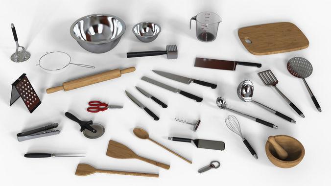 kitchen utensils set 3d model obj mtl fbx ma mb 1